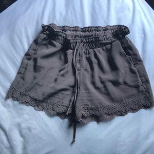 Seven Sister Khaki / Olive Green laser cut shorts